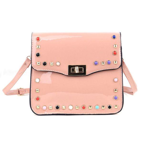 good quality Fashion Candy Color Women Bags High Quality Patent Leather Shoulder Bag Rivet Flap Women Messenger Bags Handbag