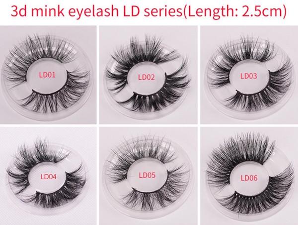 Nuevo 3d Mink Eyelashes 25mm Long Mink Eyelash 5D Dramatic Thick Mink Lashes Handmade False Pestañas LD Series 15 Estilos envío gratis