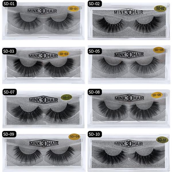 2019 MINK eyelashes 17 styles Selling 1pair lot Real Siberian 3D Full Strip False Eyelash Long Individual Mink Lashes Extension