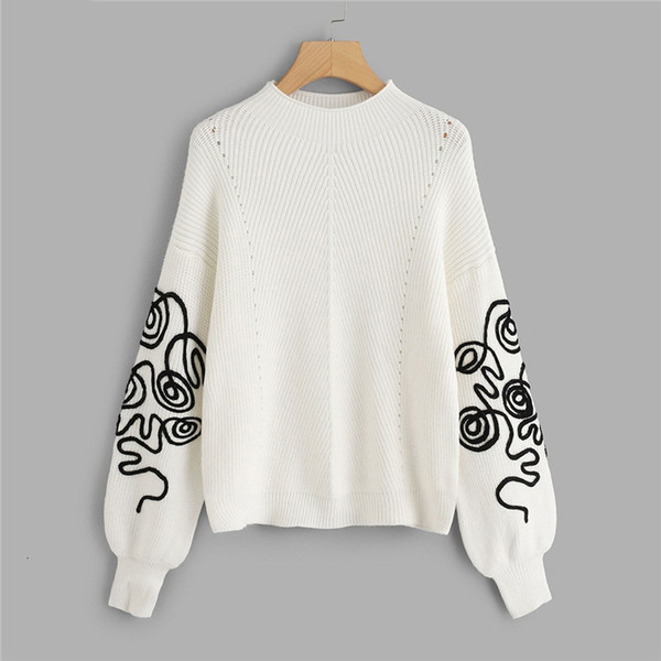 Designer Sweater Womens Sweaters White Bishop Sleeve Eyelet Detail Jumper Elegant Casual Round Neck Long Sleeve Sweater Autumn Sweaters
