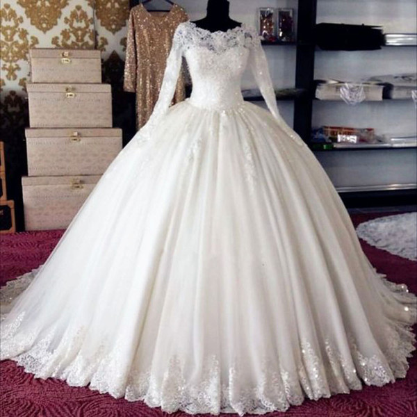 White Tulle Long Sleeves Wedding Ball Gown Puffy Princess Bride Maxi Dresses within Petticoat Custom Made High Quality Bridal Ball Dress