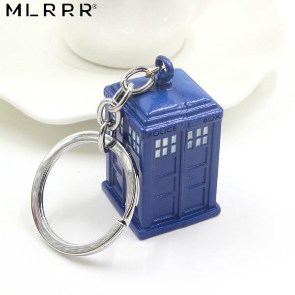Nouveau Doctor Who Bijoux Haute Qualité Alliage De Mode Bleu TARDIS Boîte Pendentif Porte-clés Unisexe pour Cadeau