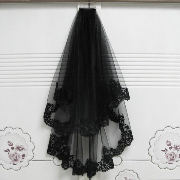 nouveau noir bordure en dentelle gothique Bridalh W Veils Elbow Lengtedding Fancy Party Veil peigne