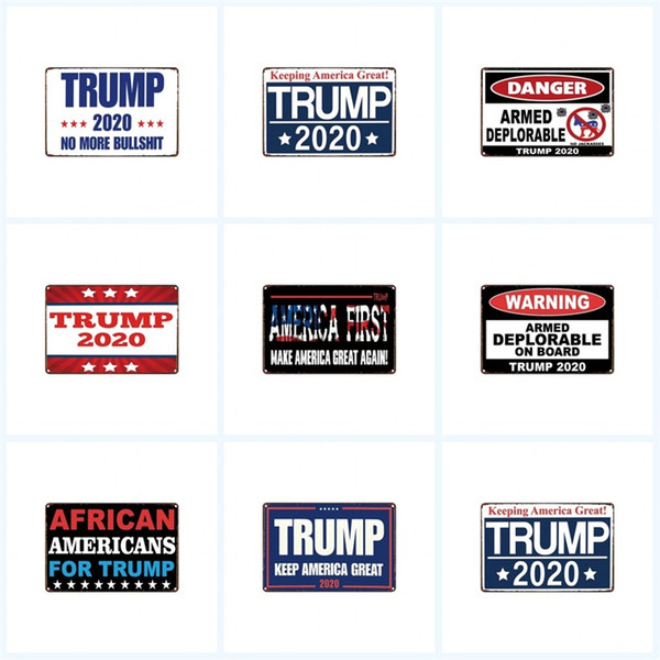 Tin Sign 2020 Trump Keeping U.S.A. Old Wall Metal Painting Danger First Warning Armed Deplorable On Board Tin Poster K1
