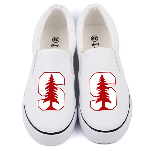 Hot Sale-Hot America College Students Canvas Shoes Slip On Custom Print Black Casual Loafers Womens Flat Walking Shoes Zapatos Drop Ship