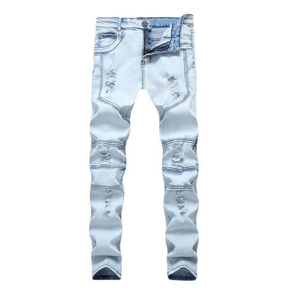 Automne nouveaux vêtements pour hommes déchirés trou patchwork jeans stretch bleu clair pantalon chaud de style slim