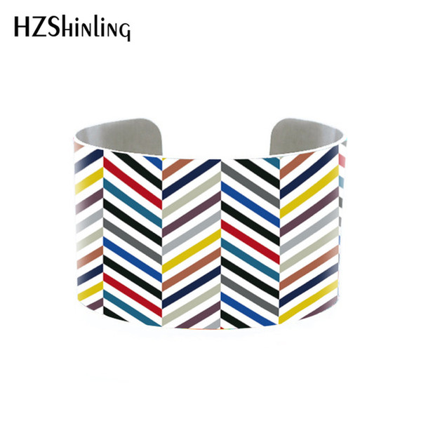 Wholesale Chevron Cuff, Marble and Chevron Cuff, Mint and Gold Adjustable Metal bangle Custom Printed Bracelet, Doodle Art colorful-funky