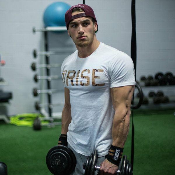 Designer Estate Palestre Uomo Casual TShirt Crossfit Palestre fitness Bodybuilding muscolari attivi Camicie Maschio brevi Cotton Tee Tops