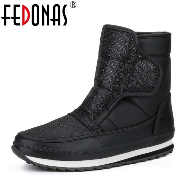 2019 FEDONAS 2019 Brand Women's Winter Shoes Warm Platforms Snow Boots Fashion Ladies Casual Shoes Woman Mid Calf High Boots Big Size