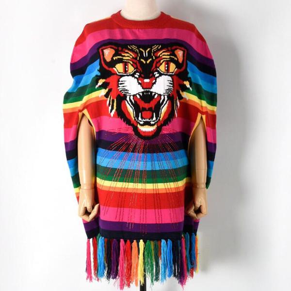 Designer Wool Pullover 2018 Winter Sweater Women Poncho Tiger Tassel Rainbow Stripe Knit Top Color Block Loose Cape Jumper