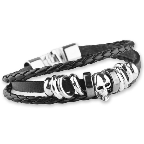 Skull Bracelet for Men 316L Titanium steel Men Magnetic Buckle Genuine Leather Braid Bracelet in 22cm for Man Bangle Retro Rivet Bangle