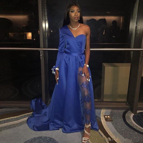 One Shoulder Blue Jumpsuits Prom Dresses with Pants High Side Split Satin Evening Party Gowns Illusion Trousers Party Dress