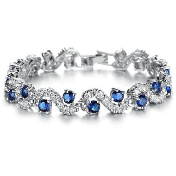 BIJOUX Mode EU Style Platine Plaqué Bleu Cristal Pierre Bracelets Bracelets De Luxe Romantique Bijoux De Mariage Gif