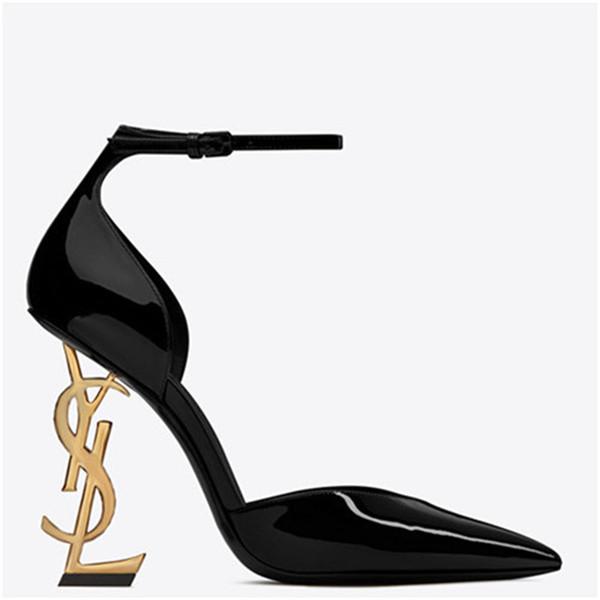 Tasarımcı Ayakkabı 2019 Yeni Baotou Kadınlar Siyah Sandalet Kadın Sivri Yüksek topuklu Sığ ağız ayakkabı Siyah Düğün Ayakkabı