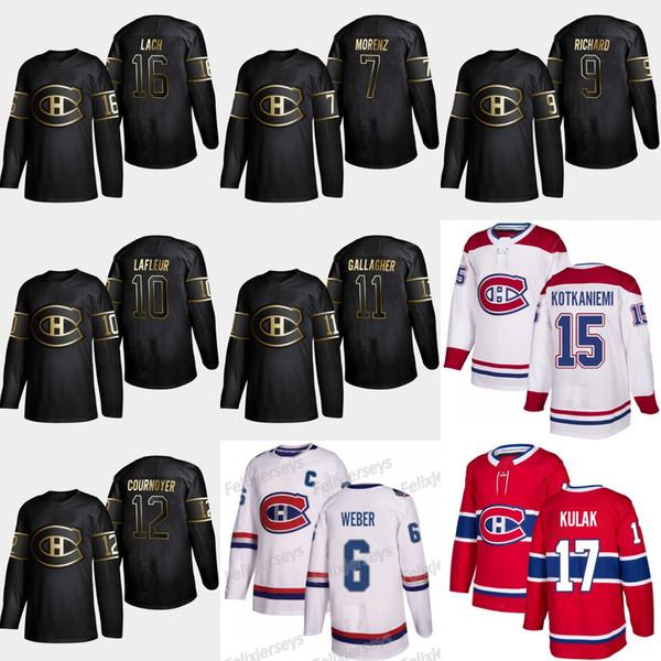 2019 Gold Schwarz Montreal Canadiens 11 Brendan Gallagher 16 Elmer Lach 12 Yvan Cournoyer Trikots von Howie Morenz Guy Lafleur Maurice Richard
