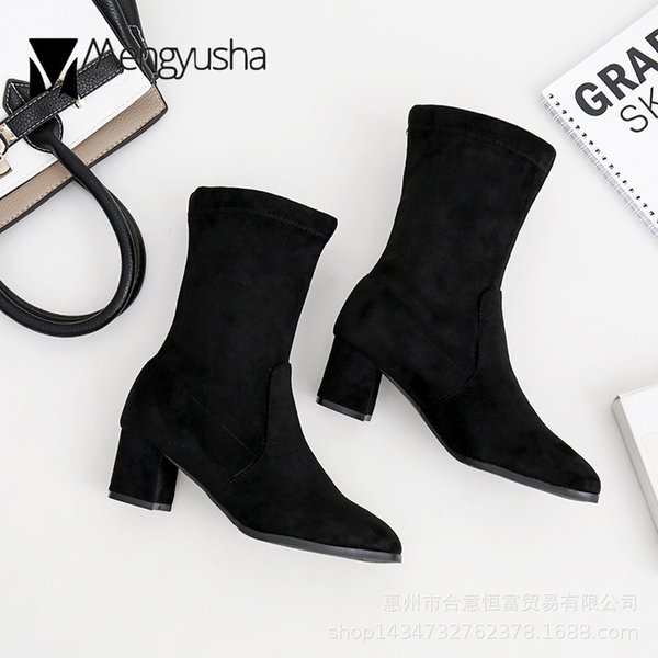 solid thick heels mid-calf stovepipe botas mujer pointed toe black velvet with plush short boots women shoes winter plush botas