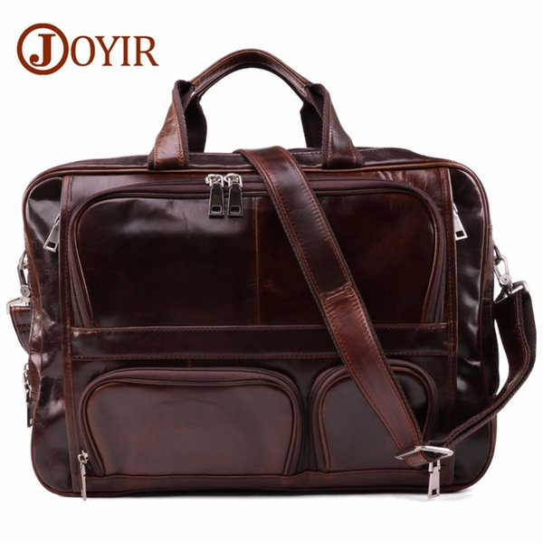 JOYIR Classic Men's Briefcase Tote Men Messenger Bag Travel Laptop Bag For Men Document Business Genuine Leather Briefcase Male #208865