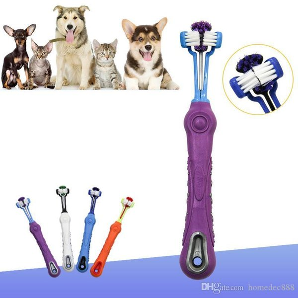 best selling Hot Sale Pet Tooth Brush Pet Oral Care Washing Three Sided Cat Toothbrush Dog Pets Clean Mouth Teeth Care Cleaning Grooming Tools DH0359