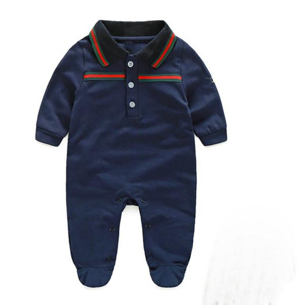 Em estoque outono dos bebés rompers designer miúdos lapela macacões de manga longa + chapéu meninas infantis carta bordar roupas de algodão romper menino