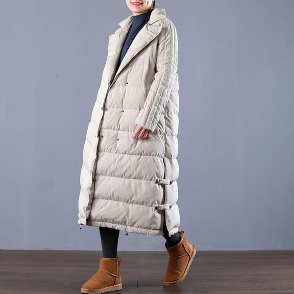 Winter fashion brand double breasted super longer duck down coat female elegant retro style warm down parkas wq695 dropship