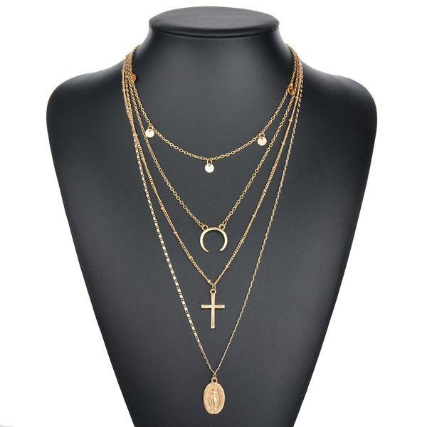 Liga da cadeia virgem cruz de metal haste de 4 camadas pingente colares boêmio jóias deus católica choker colar