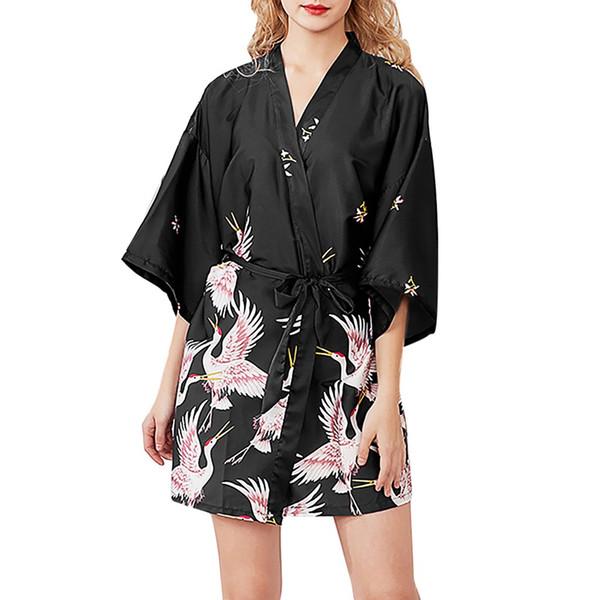 Women Simulation Silk Ladies Pajamas Lingerie Robe Bathrobe Bride Dressing Gown special design batas de seda de mujer
