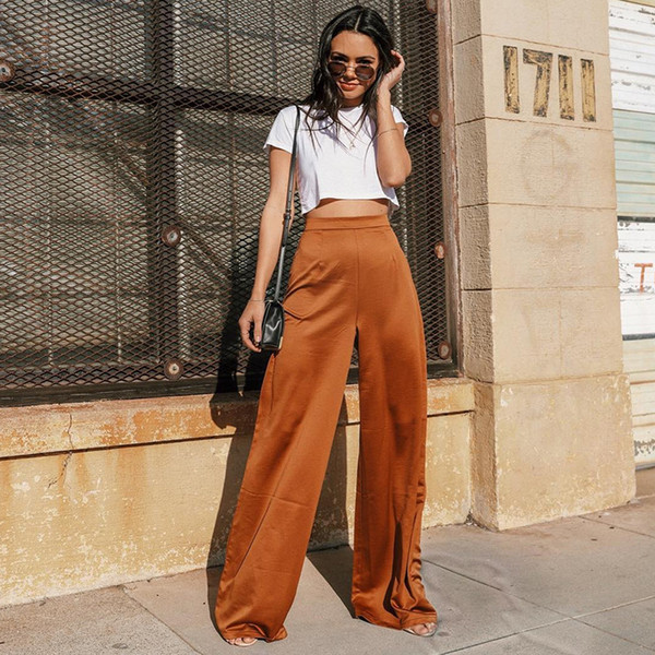 Women's Loose Wide Leg Pants High Waist Plus Size Full Length Flared Trousers Office Lady Maxi Woman Fashion Bottoms Culotte