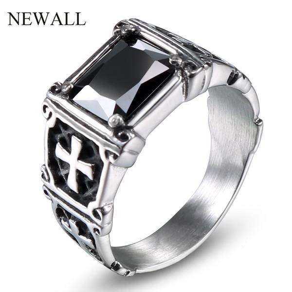 Newall acciaio inossidabile pietra nera uomini punk gioielli anello di alta qualità ZC moda amore anello di fidanzamento accessorio in pietra naturale