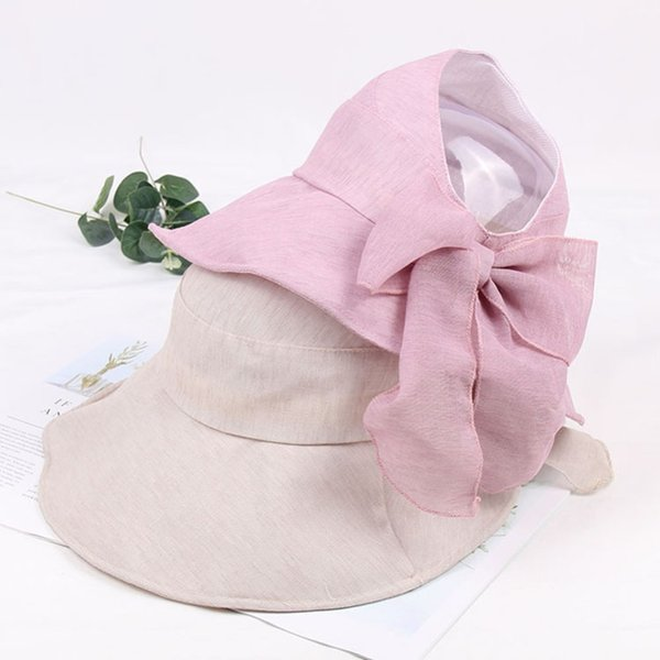 Summer Women Summer Wide Brim Foldable Hat Beach Sun Hat Bowknot Cap UV Protection solid color top lightweight breathable