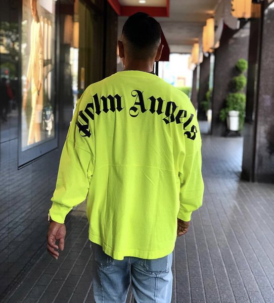 2019AW Palm Angels Fluorescent Green Logo Druck Frauen Männer Langarm T-Shirts Hiphop Streetwear Übergroße Baumwolle T-Shirt S-XL