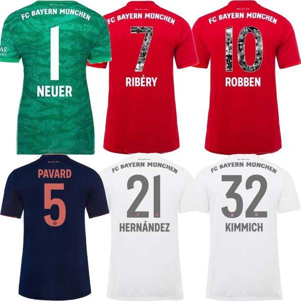 Bayern 2020 Özel Baskı Yazı RIBERY ROBBEN RAFINHA Futbol Forması 19 20 Bayern Münih Hone LEWANDOWSKI THIAGO Futbol formaları