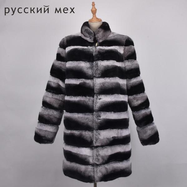 High quality chinchilla fur coats for women rex rabbit fur coat with hood real coat