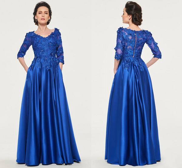 2019 Fashion 3D Floral Flowers madre della sposa Abiti da sposo Royal Blue con tasche in pizzo 3/4 maniche in raso abito da sera formale