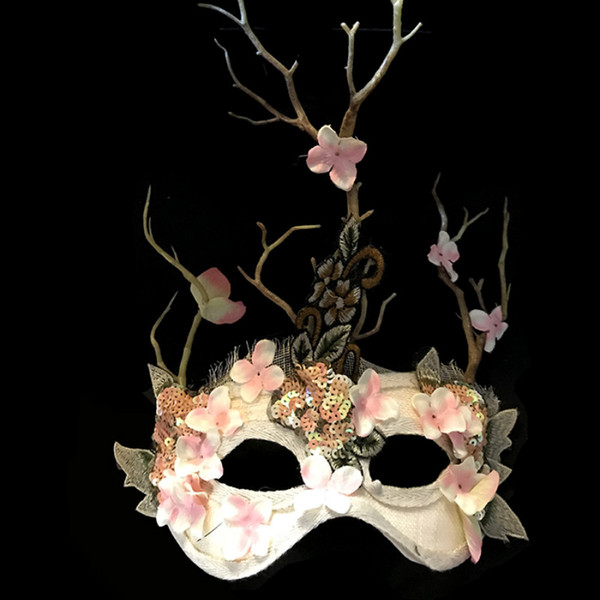Venice artificial flower and branch mask dance mask Halloween Cosplay Party Christmas Stage Catwalk Exaggerated Headwear