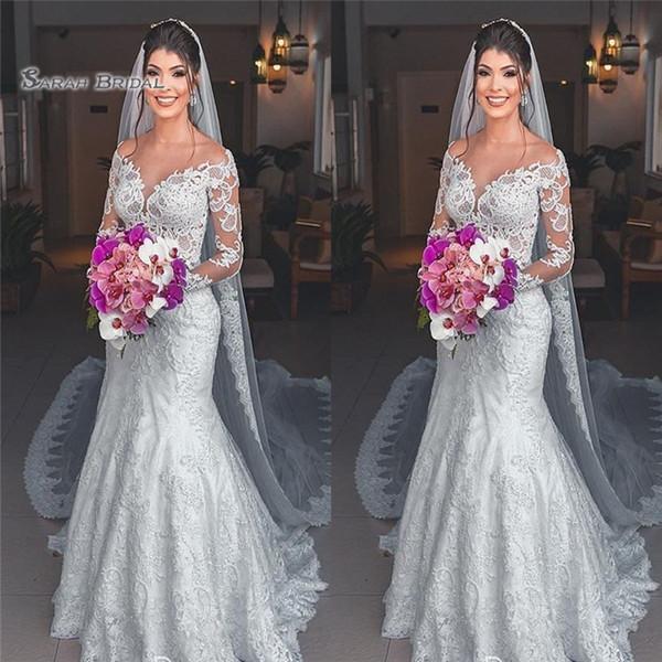 2020 Sheer sirena del cuello del tamaño boda vestidos de manga larga atractiva de novia de la boda vestido de novia de la playa Plus