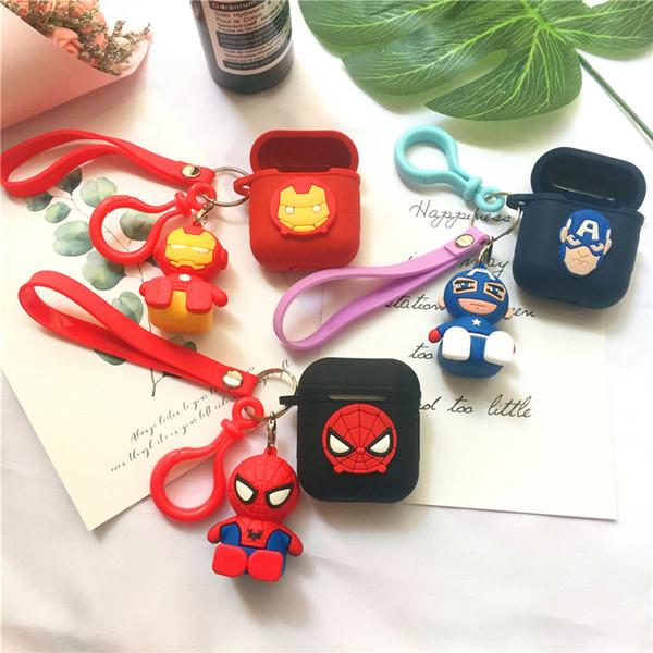 Carino Marvel Superhero iron Man Portachiavi senza fili Bluetooth Auricolare per Airpods Cover protettiva