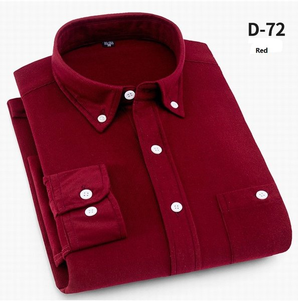 8 Colors Spring and Autumn Corduroy Shirt Male Long Sleeve Velvet Pure Color Boys Leisure Candy Bright Men Clothing WY0015