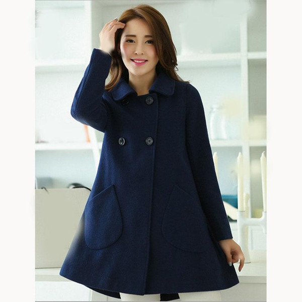 Nice Autumn Women Wool Blends Coats Double Breasted Woolen Coat Pockets Ladies Solid Plus Size Slim Coat