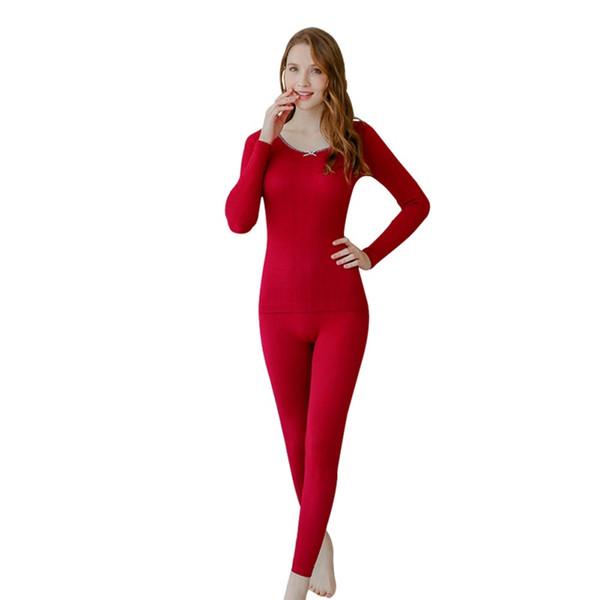 Calzoncillos térmicos para mujeres Long Long Johns Winter Color sólido con cuello en U de encaje Ropa interior térmica + Pantalones de dos piezas