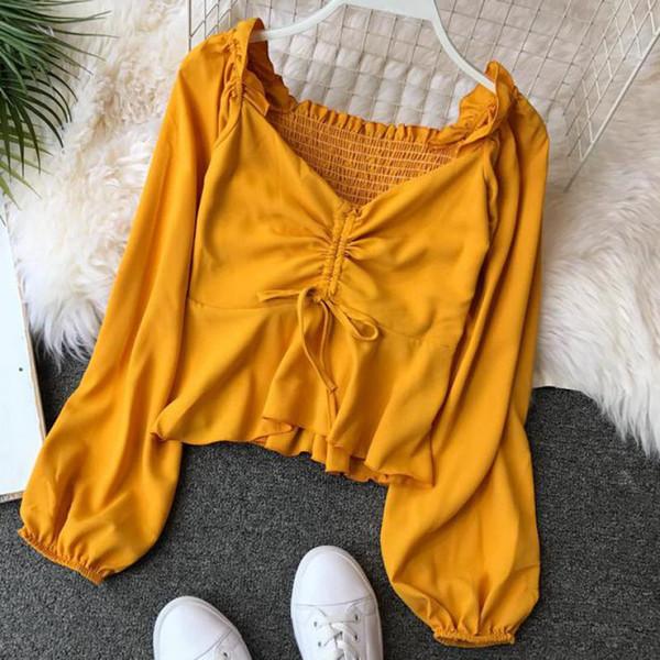 2019 Women Sweet V Neck Short Blouse White Black Red Drawstring Tie Lantern Sleeve Solid Shirts Summer Beach Crop Top Blusas T77
