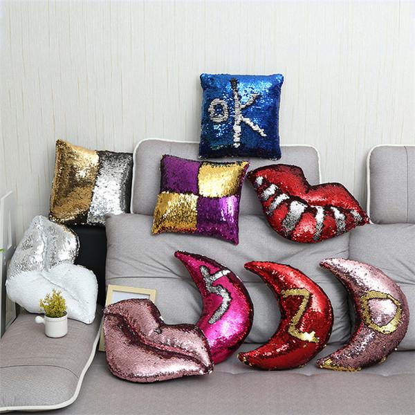 Fashion Dazzle cool paillettes magia cuscino Paillettes Labbra Cuscino Auto Divano Decor camera da letto Federa T9I0046