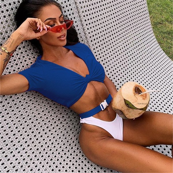 Knot Tie Frong Bikini Set High Waist Swimsuit Buckle Swimwear 2019 Summer Bather Two-piece Swimming Suit For Woman Sexy Biquini