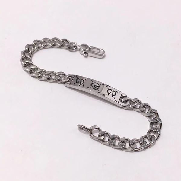 Top marca de aço inoxidável 316L punk pulseira com design fantasma para o homem pulseira em 18.5 cm presente da jóia do casamento + caixa marrom queda grátis