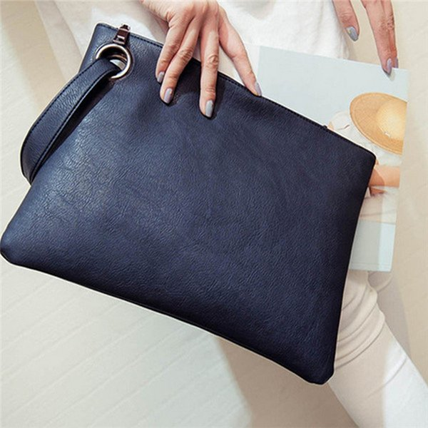 2017 female fashion solid women's clutch bag PU leather women envelope shape handbag clutch evening bag free shipping #88682