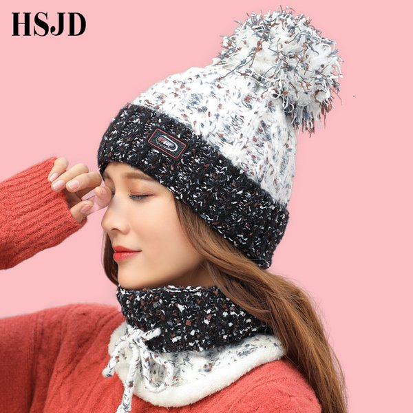 Winter Women Hat Scarf Set Sweet Lovely Dots Snowflake Warm Knitted Hats Caps for Girls Skullies Beanies hat with Pom pom female MX191109