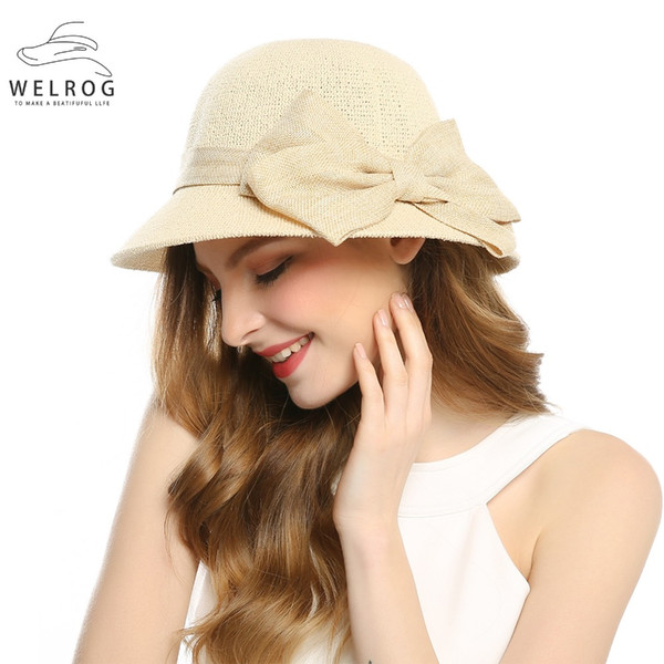 WELROG 2019 Bohemian Solid Beige Color Cotton Big Bow Sunhat Fisherman Hat Summer Women Beach Sunscreen Folding Sun