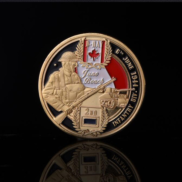 10 Pcs The 70th anniversary of Nomandy landing Juro beach coins maple leaf badge gold plated 40 mm souvenir collectibel decoration coin