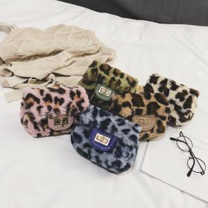 Niñas Bolso bandolera con estampado de leopardo de señora de felpa Satchel Crossbody Messenger Bags Mujeres Bolsa de cadena de peluche LJJW98