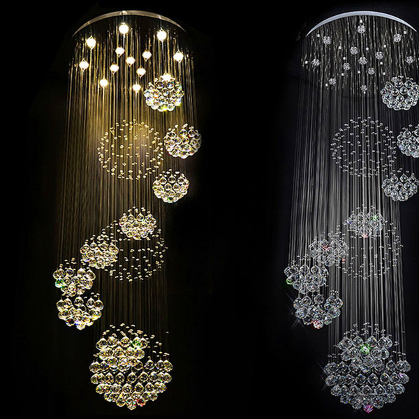 Modern Large Crystal Ceiling Light Fixture for Staircase Foyer Long Spiral Crystal Lighting Lustre Luminaire For High Ceiling