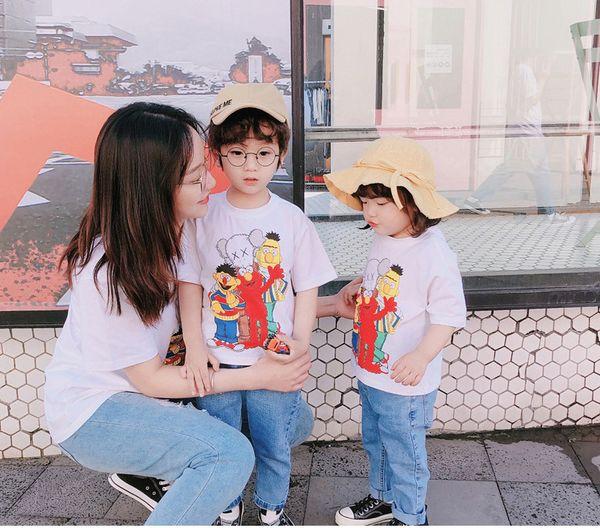 T-shirt manica corta GirlsBoys bambini T-shirt stampa sesame street Cartoon Cookie Monster ed Elmo Funny Baby Clothe